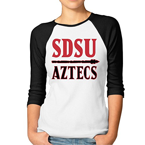 Custom Mascot Costumes Design (RERR Women's San Diego State University Raglan 3/4 Sleeve T-Shirt Black Size M)