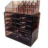 Sodynee Acrylic Makeup Cosmetic Organizer Storage Drawers Display Boxes Case, Three Pieces Set, Brown