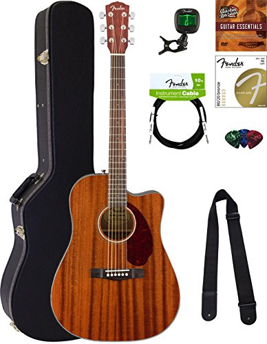 Fender CD-140SCE Dreadnought Acoustic-Electric Guitar - All Mahogany Bundle with Hard Case, Cable, Tuner, Strap, Strings, Picks, Austin Bazaar Instructional DVD, and Polishing - Dreadnought Mahogany