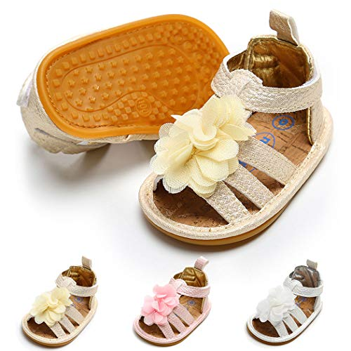 Baby Girl Sandals Anti-Slip Rubber Sole Summer First Walkers with Flower Newborn Shoes Infant Sandals Girls(0-6 Months M US Infant,C-Gold)