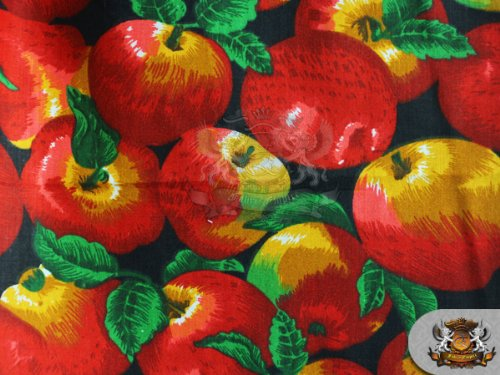 Polycotton Printed APPLE ALLOVER BLACK Fabric / 59