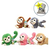 LightningStore Cute Colorful Green Pink Brown Blue Funny Long Curly Tail Monkey Doll Realistic Looking Stuffed Animal Plush Toys Plushie Children's Gifts Animals + Toy Organizer Bag Bundle