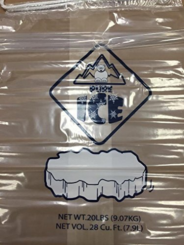 Plastice Ice Bags 20 Lbs with Drawstring 100 Bags -