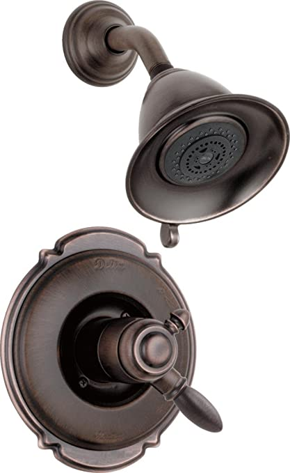 delta faucet victorian 17 series dual function shower trim kit with 2 spray touch clean shower head venetian bronze t17255 rb valve not included