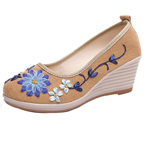 Byste Women's Fashion Shoes Espadrilles - Slip-on - Soft - Wedge -Floral Printing-Basic Round Toe Embroided Casual Wedge Beige