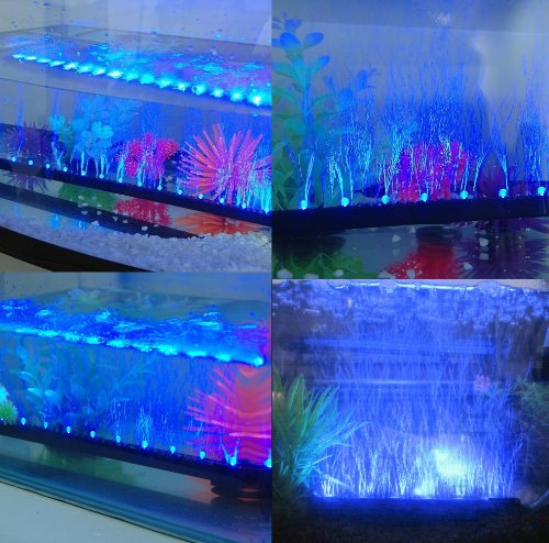 Amzdeal 18in underwater blue led aquarium light bar for Blue light for fish tank