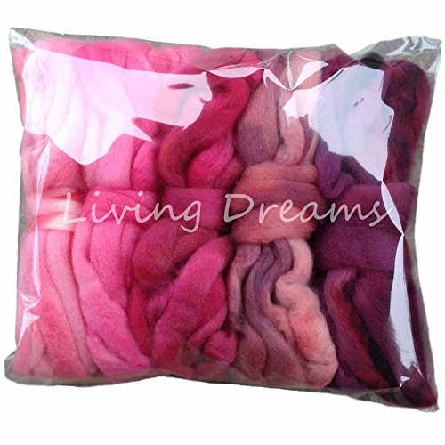 SPINNING FIBER Super Soft HAND DYED BFL Wool Top Roving for Spinning, Felting, Blending and Weaving. 5 beautifully colored Mini Skeins DISCOUNT PACK, (Hand Dyed Roving)