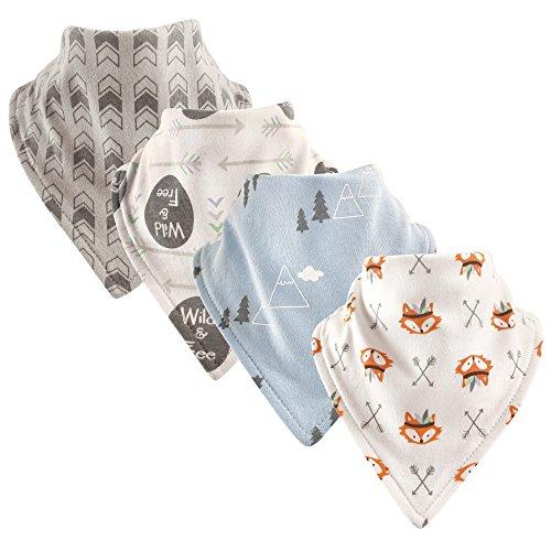 Luvable Friends Basic Cotton Bandana Bib Set,Wild and Free 4 Pk,One Size