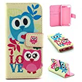 iPod Touch 5 Gen Case, iPod Touch 6 Gen Case Easytop Fashion Style Premium PU Leather Wallet Type Magnet Design Flip Case Cover with Built-in Card Slots, Cash Pocket (Owls Love)