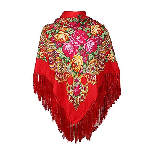Classic Red Russian Shawl Traditional Ukrainian Scarf for sale  Delivered anywhere in Canada