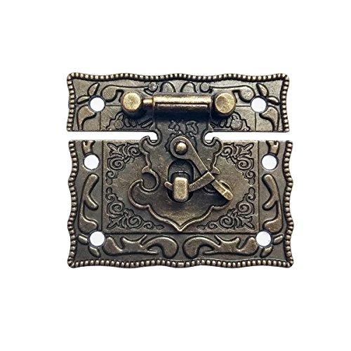 Wooden Box Lock Closed Buckle Lock Bronze Vintage lockRed Wine Box Lock. Vintage Jewelry Box Lock. Snap Lock. Keyless Lock.