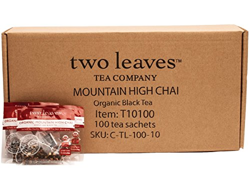 Two Leaves and a Bud Organic Mountain High Chai Black Tea, 100-Count