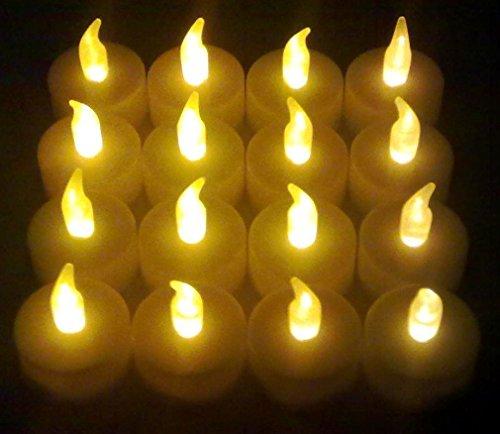 iapyx®, LED-waxinelichtjes, flikkerend, incl. batterijen CR2032, vlamloze LED-kaarsen met flikkereffect, 16 stuks
