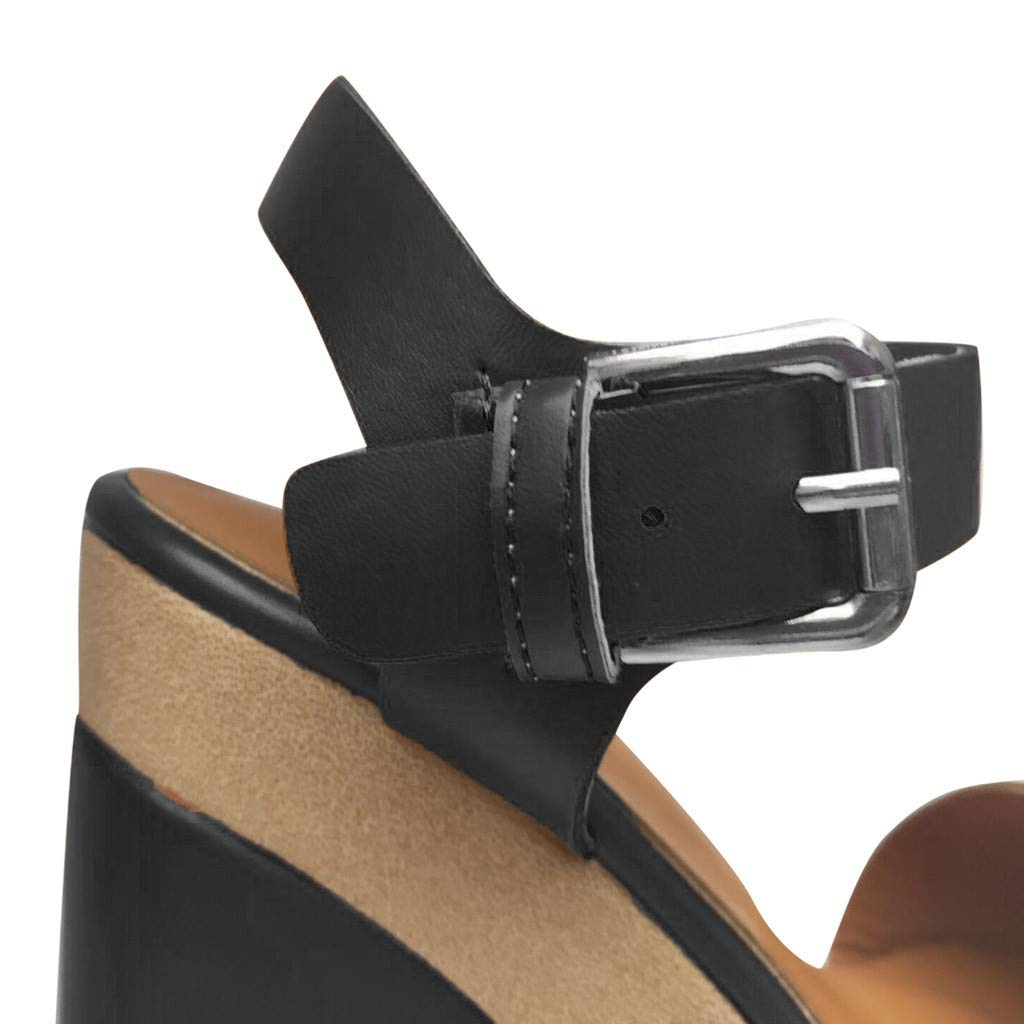 Wedge Platform Sandals for Women,FAPIZI New Comfy Soft Soles Dancing Shoes Casual Breathable Modern Sandals Black by FAPIZI Women Shoes (Image #2)