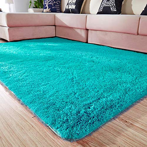 Amangel Blue Area Rugs for Bedroom Rug Carpet Girls Living Room Nursery décor Kids Furniture Baby Girl Carpets Floor shag Fur and Modern Soft Bed Home mats Women Plush Fluffy 4x5 Feet (Turquoise)