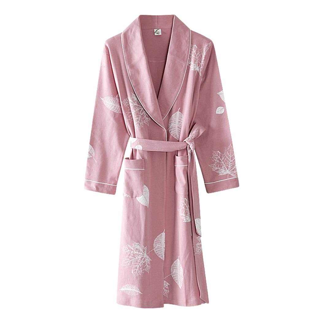 Lady powder GJFeng Spring and Autumn Couple Nightgown LongSleeved Long Bathrobes Cotton Loose Pajamas Soft and Comfortable (color   Lady Powder, Size   XXL)