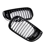 Vrracing New for 02-05 BMW 3 Series E46 320i 325i 325Xi 330i 330Xi 4 Door Glossy Black Kidney Grilles Grill Front Part Replacement 2003 2004