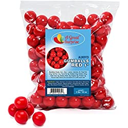 Gumballs in Bulk – Red Gumballs for Candy Buffet – Gumballs 1 Inch – Bulk Candy 2 LB