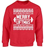 Vizor Merry Liftmas Ugly Christmas Sweatshirt Merry Liftmas Christmas Sweater for Men and Women Funny Xmas Workout Gifts Red L