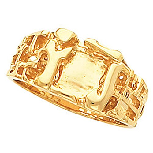 11.00X12.00 mm Men's Nugget Ring Mounting in 14k Yellow Gold ( Size 10 ) 14k Yellow Gold Mens Mounting