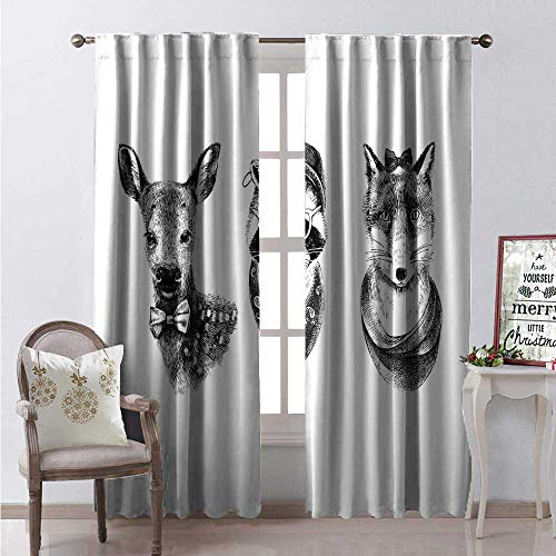 Raccoon Thermal Insulating Blackout Curtain Dressed Up Hipster Animal Sketch Deer Bow Tie Panda Bear Wolf Hand Drawn Blackout Draperies for Bedroom W84 x L96 Black Grey White