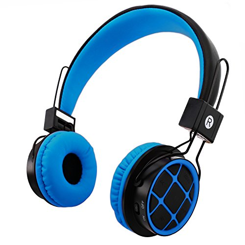 Kids Headphones Wireless Bluetooth Headphones for Kids Toddlers On Ear Headset with 3.5mm Wired Jack Cord SD Card Slot for PC Tablet Iphone Ipod Cellphone-Handal (Blue/Black) Ipod Blue Headphone