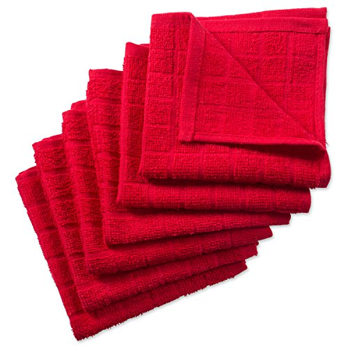 DII Cotton Terry Windowpane Dish Cloths, 12 x 12 Set of 6, Machine Washable and Ultra Absorbent Kitchen Bar Towels-Solid Red