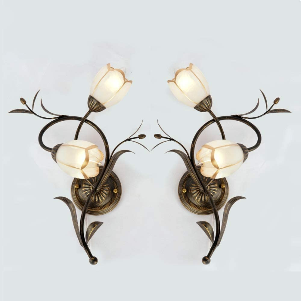 American Vintage Wall Light - 2 Lights,Wall Lamp für Indoor Decoration Lighting Fixture mit Glass-Flower Lampshade - Wall Hanging Sconce für Living Room, Hallway, Stairs, Hotel, Bedroom
