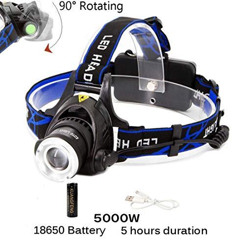 Rechargeable Flashlight Headlamp KIT Camping Hard Head Hat Light Waterproof
