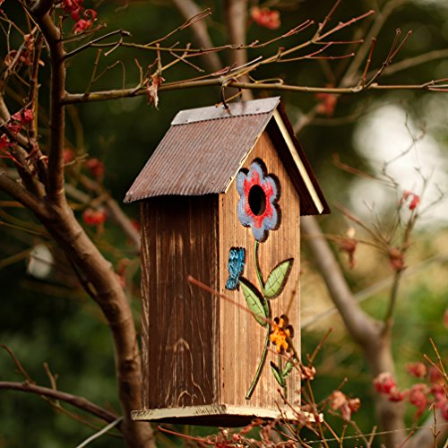 A Ting Wooden Carved Floral Birdhouse with Hanging(Brown) - Slope Roof