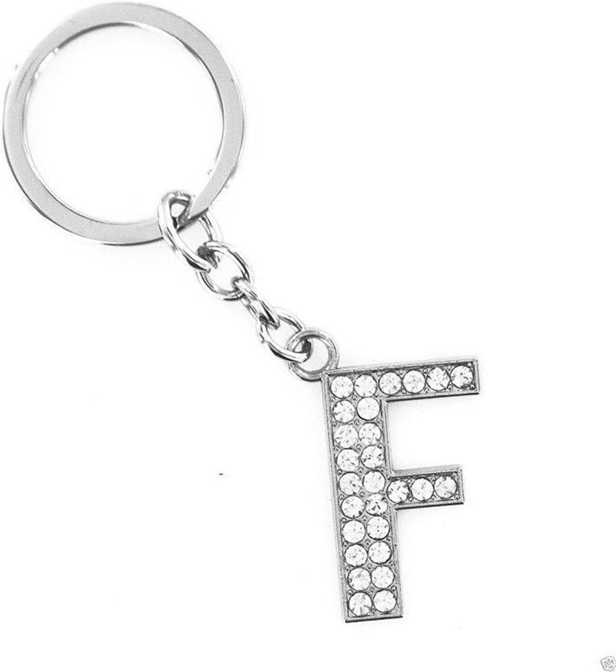 Profusion Circle Alphabet Keyring Initial Letter Unisex Rhinestone Inlaid Keychain Gift K