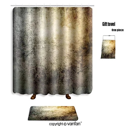 vanfan bath sets with Polyester rugs and shower curtain grunge wallpaper 299964527 shower curtains sets bathroom 69 x 84 inches&31.5 x 19.7 inches(Free 1 towel and 12 - Kraken Origin Of The