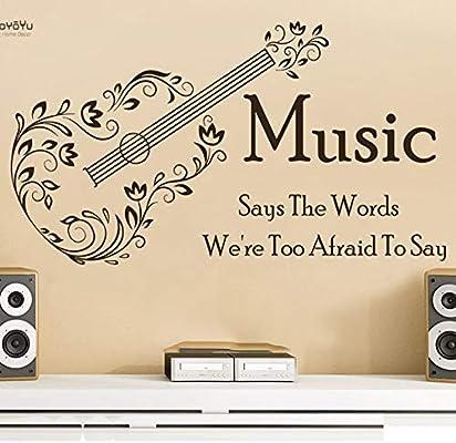 Ajcwhml Etiqueta de la Pared Decoración de la Guitarra Vinilo removible Cita La música Dice Que Las Palabras Tenemos Demasiado Miedo Decir Etiqueta de la Pared 72x40cm: Amazon.es: Hogar