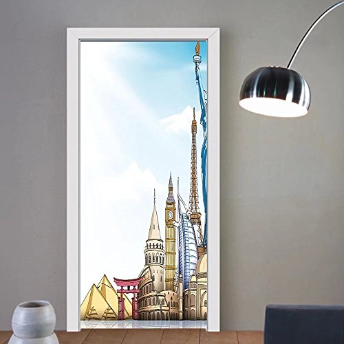 Gzhihine custom made 3d door stickers Urban Famous World Landmarks 3D Effect Realistic Sketch Drawing Design Travel Theme Artwork Multicolor For Room Decor 30x79 by Gzhihine