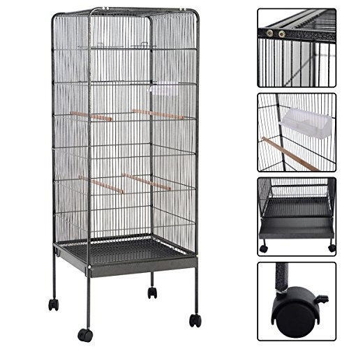 Rolling Wheel Large Bird Cage With Stand Two Doors 58