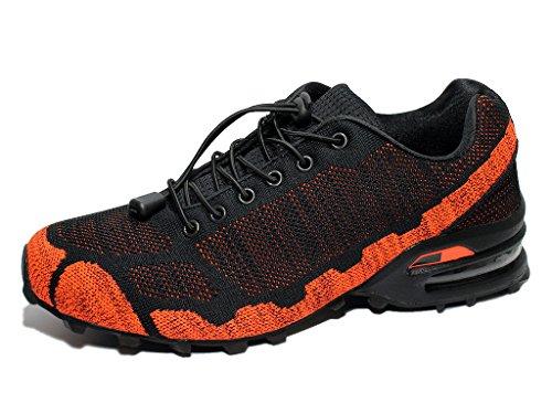 BellaMilla Herren Sneaker Freizeitschuhe Sportschuhe Textil Herrenschuhe 41-46 Schwarz/Orange