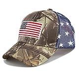 THE HAT DEPOT Tactical Operator USA Flag Mesh Cap (Real Tree Camo2-Flag)
