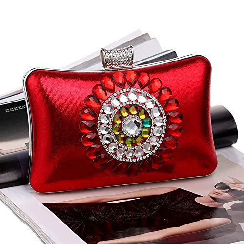 Womens sera paillettes e Wedding Vintage Clutch perline da Banquet Red Style Borsa con UgwnqAWZF
