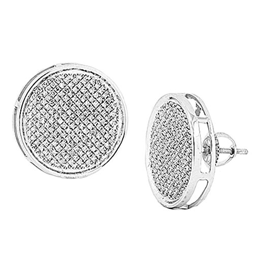 0.50 Carat (ctw) Sterling Silver Real Diamond Pave Disc Mens Hip Hop Iced Stud Earrings by DazzlingRock Collection