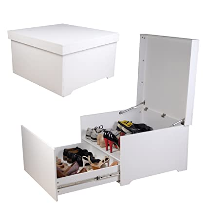 Organizedlife Large White Shoe Box Cabinet Seat With Drawer Wooden
