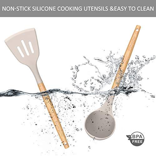 Umite Chef Kitchen Cooking Utensils Set, 33 pcs Non-Stick Silicone Cooking Kitchen Utensils Spatula Set with Holder…