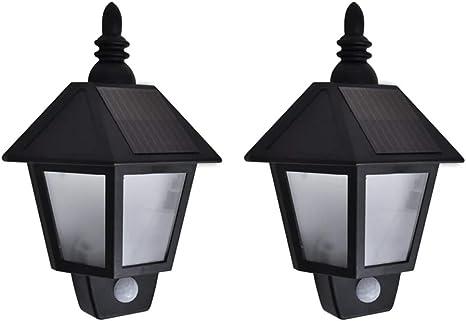Festnight 2 Unidades Lámparas De Pared Con Sensor Movimiento Negras Lámparas Jardín Exterior Para Jardines Casas Patios Caminos Calzadas Amazon Es Hogar