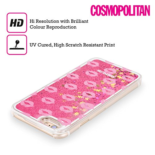 Official Cosmopolitan Hot Pink Kiss Mark Hot Pink Liquid Glitter Case Cover for Apple iPhone 5c