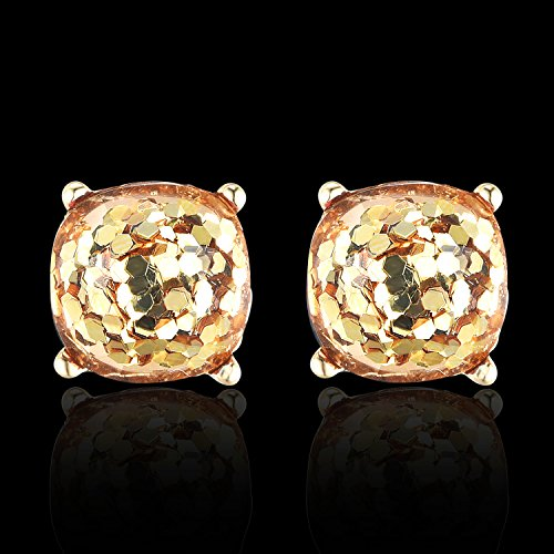 Square Glitter Faceted Stud Earring 10mm Gold Plated Resin Earrings for Women