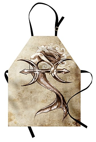 Ambesonne Mermaid Apron, Vintage Mermaid in The Sea with an Anchor Mythical Aquatic Creature Graphic Art, Unisex Kitchen Bib Apron with Adjustable Neck for Cooking Baking Gardening, Beige Brown ()