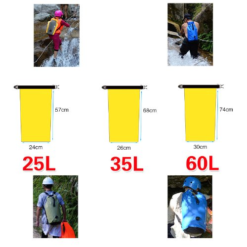 Hubry (TM) 1 PC Dry Bag (25L,35L,60L) Waterproof Dry Sack Shoulder Strap Roll Top Compression Waterproof Bag Sack Use Floating & Swimming