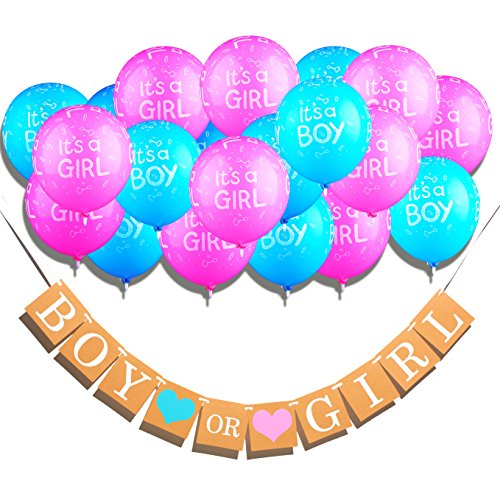 Newborn Boy Balloons Bouquet - Qyler Gender Reveal Decoration Boy or Girl Banner with Latex Balloons Baby Shower Decorations