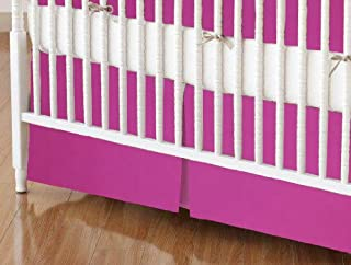 product image for SheetWorld 100% Cotton Percale Crib Skirt 28 x 52, Hot Pink Woven, Made in USA