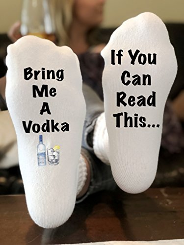 If You Can Read This Bring Me a Vodka Novelty Funky Crew Socks Men Women Christmas Gifts Slipper Socks