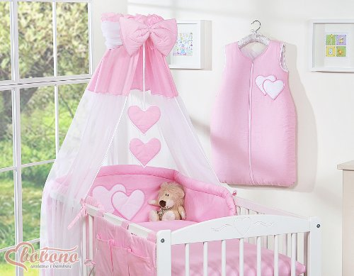 BEAUTIFUL NEW & QUALITY PINK CANOPY/DRAPE/MOSQUITO NET with decorative BOW & HEARTS + DRAPE/CANOPY HOLDER MOSQUITO NET CLAMP ROD BAR POLE COT/COT BED BOBONO small pink canopy bow + holder